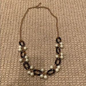 J.Crew Tortoise shell link and Pearl necklace